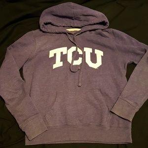 TCU hoodie purple and white